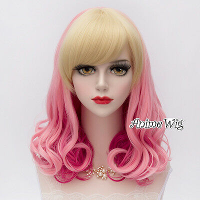 Blonde Mixed Pink  50CM Lolita Style Curly Anime Cosplay Fashion Hair Wig