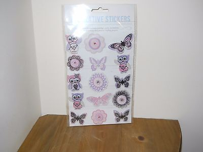 1 Brand New Pack Of 15 Owl/butterfly Embellishments In Pink/black/mauve