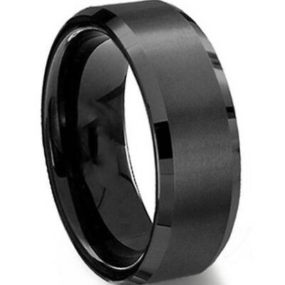 8MM Black Stainless Steel Ring Brush Size 7 to 15 Half Sizes Wedding Graduation