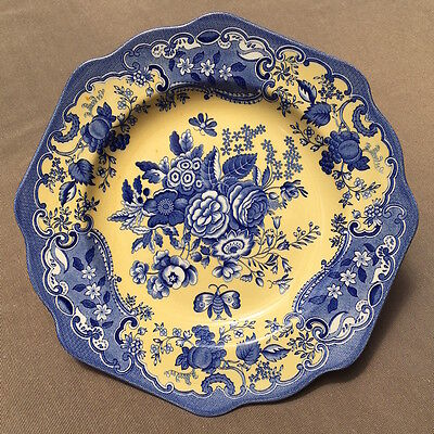Spode Archive Collection 'Blue Rose' Plate 24cm, Made in England, Blue & Yellow