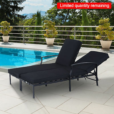 Outsunny 2 Person Sun Lounger Outdoor Indoor Patio Recliner Chaise Bed Black