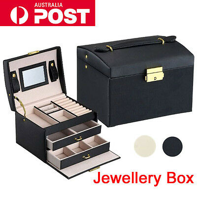 Jewellery Storage Box Rings Necklaces Display Organizer Watch Case Faux Leather