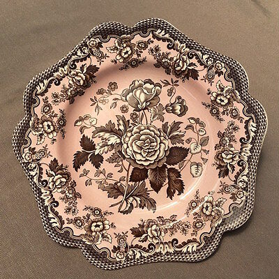 Spode Archive Collection 'Blue Rose' Plate 24cm, Made in England, Pink & Brown