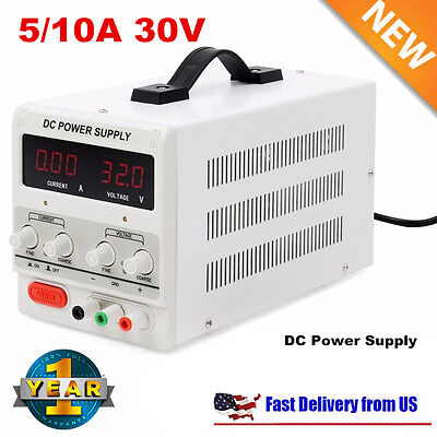 Digital DC Power Supply 30V 10A 5A Precision Variable Adjustable Lab Grade New H