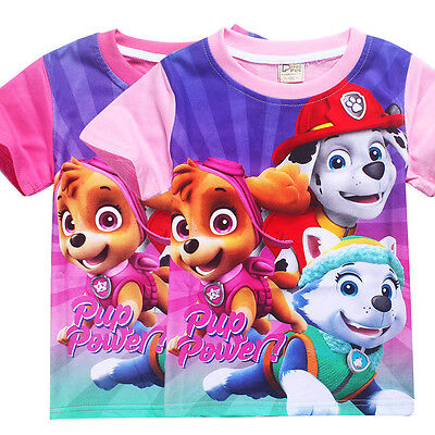 Newest Kids Girls Casual T shirts Paw Patrol Cartoon T-shirts Tops Clothes 3-7Y
