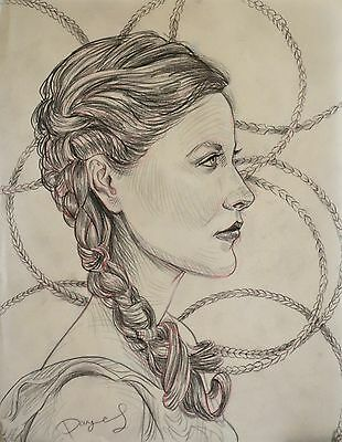 Portrait of a girl original drawing pencil realism artist small