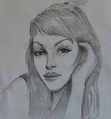 Girl with headband and a hand portrait graphite original drawing