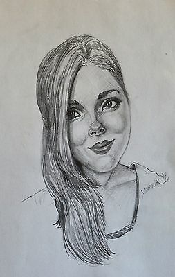 Happy girl portrait original drawing pencil realism artist small signed art gift