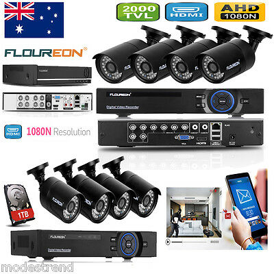 8CH 1080N HDMI DVR NVR 2000TVL CCTV Security Camera Home Video System With 1TB