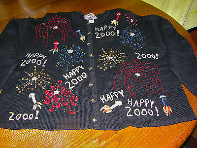 2000 MILLENNIUM XL (18-20W) SWEATER Collector Celebration - Gr8 Condition PARTY!