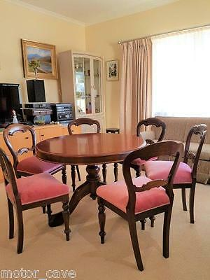 Original antique dining setting 6 x chairs tilt table vintage suite timber