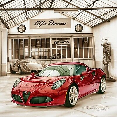 Lithographie Lithography Affiche Poster Bruere Alfa Romeo 4C ★2013★