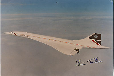 Brian Trubshaw ' 1st British Pilot to fly Concorde ' Hand Signed Colour Photo.
