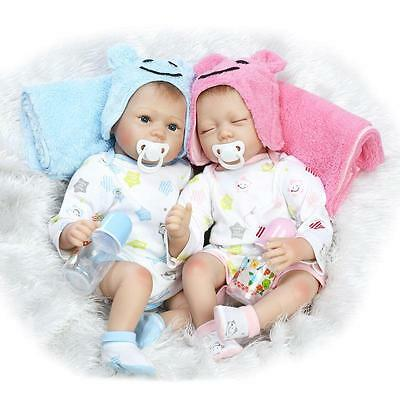 "Lifelike 22""Reborn Baby Twins Doll Handmade Soft Silicone Newborn For kids gifts"
