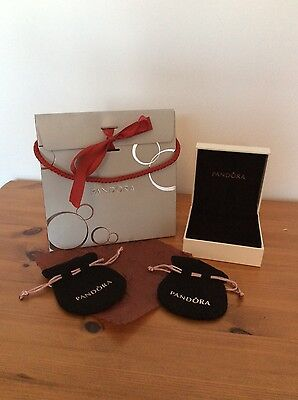 Genuine Pandora empty bracelet box, bag, two pouches and tissue paper