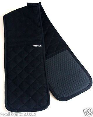 NoBurn Professional X-Long Double Silicone Oven Gloves Black