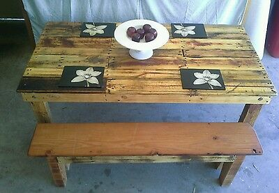 Indoor / Outdoor Rustic Dining Table with 2x 3 seater benches