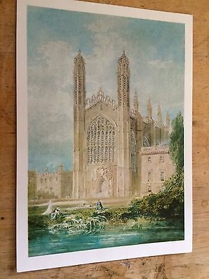 Old Postcard of Kings College Chapel Cambridge from Watercolour