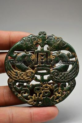 Chinese Old Green Jade Carved Bat&phoenix Lucky Pendant  H2