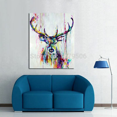 FRAMED! MODERN Abstract Canvas Art Oil Painting wall decorate deer