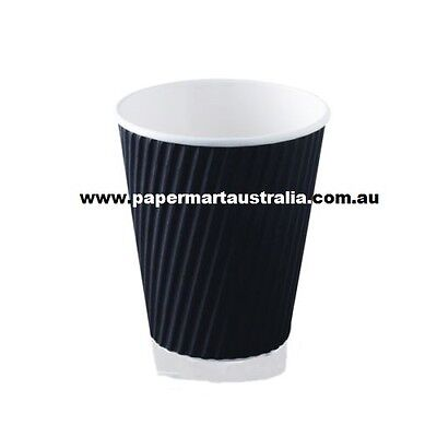 100 Set of 12oz Black Triple Ripple Wall Disposable Paper Coffee Cups and Lids