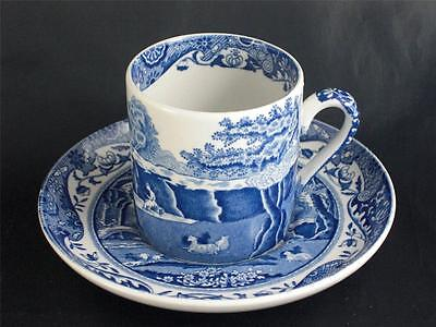Spode Blue Italian Coffee Can / Demitasse and Saucer  Made In England      S1683