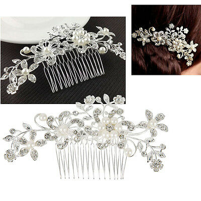 Wedding Bridal Jewellery Rhinestone Crystal Pearls Hair Comb Clip  Headpiece AU