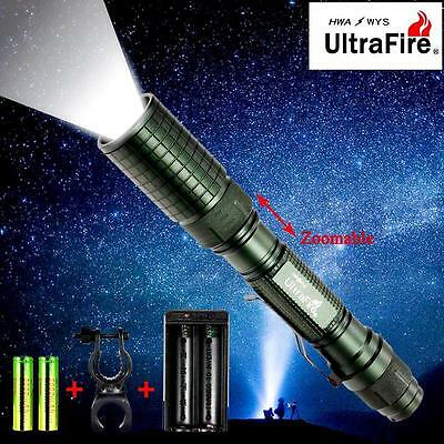 Ultrafire CREE XML T6 8000 LM LED Flashlight 18650 Battery Zoom Lamp +Charger CB
