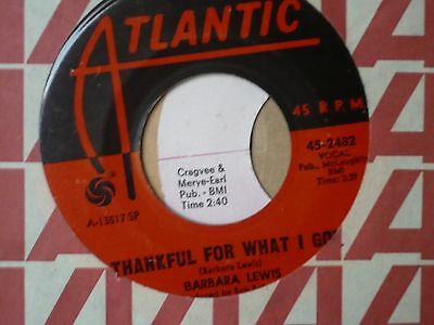 Barbara Lewis . Thankful for what I got . Smooth Northern Soul .