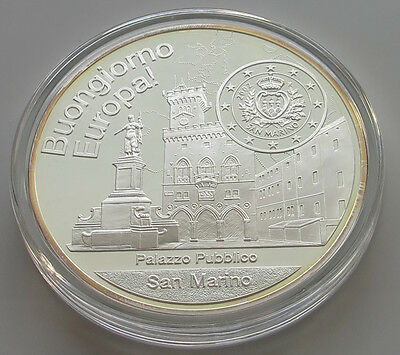SAN MARINO LARGE PROOF MEDAL 4 OZ SILVER 35MM 134G  #p10 097