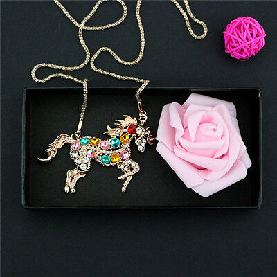 Girl Women Colorful Crystal Steed Horse Unicorn Pendant Necklace Sweater Chains
