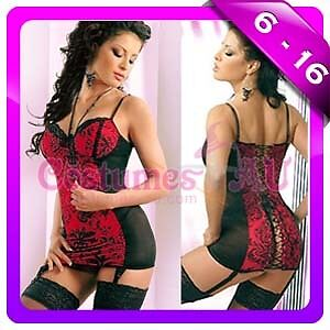New Black Red Underwired Lace Up Babydoll G string