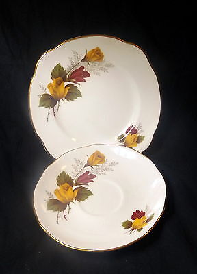 Duchess Side Plate & Saucer White With Yellow Roses.