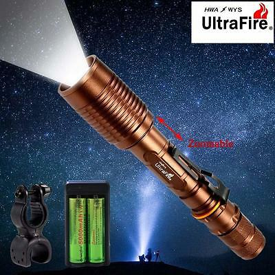 Ultrafire 8000 LM CREE T6 LED Flashlight Zoom 18650 Battery Torch +Charger US CB