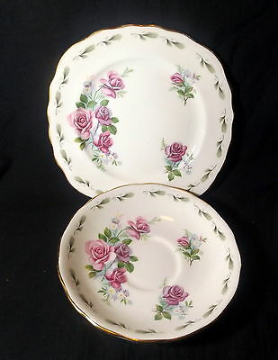 Colclough Saucer & Sideplate White With Gold Trim & Pink Roses.