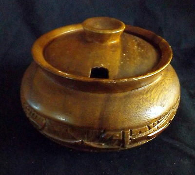 Wooden Handmade In The Philippines Engraved Sugar Bowl.