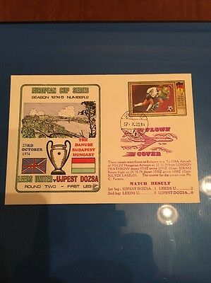Leeds United First Day Cover. Flown. 1974 European Cup First Leg