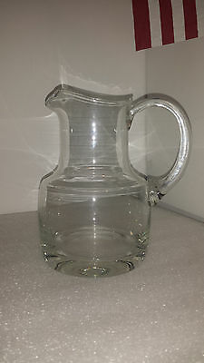 "Glass Clear Pitcher Made in Romania Danish style Handcrafted 8""H Handmade"