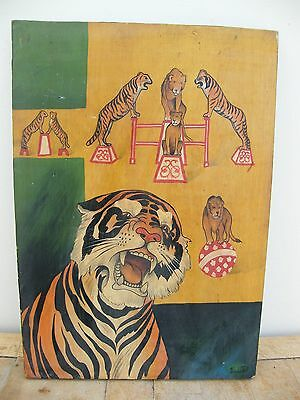 A Vintage Reclaimed Piece Of Circus Art Painted On Board Sign Plaque Picture