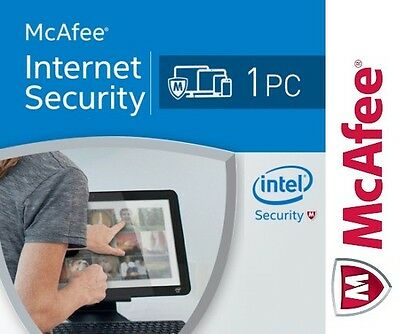 McAfee Internet Security 2017 Antivirus, 1 PC Win 1 Anno 1 Year - Licenza ESD