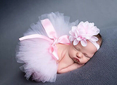 Pink Newborn Baby Girls Crochet Knit Costume Photo Photography Prop Outfits