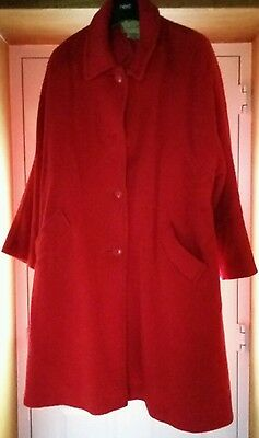 Womens Vintage Jaeger Red Mohair & Wool Coat Size 16