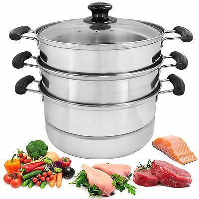 28cm 3 Tier Steamer Cooker Pot Set Pan Cook Food Glass Lids Stainless Steel