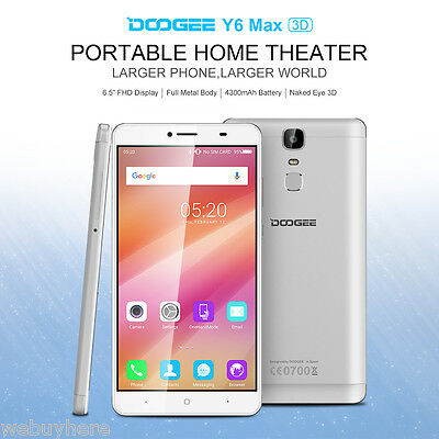 4G 6.5'' DOOGEE Y6 Max 3D 32GB Octa Core 4300mAh Touch ID 16MP Smartphone Móvil