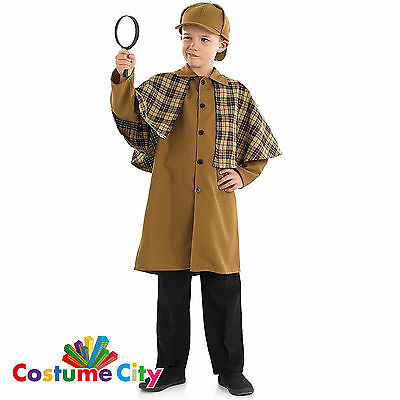 Childs Boys Victorian Detective Sherlock Holmes Fancy Dress Book Week Costume