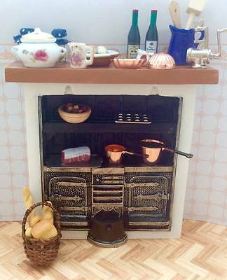 Dolls House Miniature 12Th Scale Stove / Oven / Range, Bread, Veg & Accessories