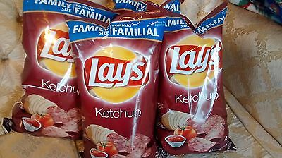 4 Large Bags Lays Ketchup Potato Chips 255g Family Size Canada
