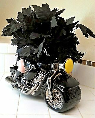 BIKER HOGS PLANTER Clay Art 1999 Pig Motorcycle Ceramic NEW CONDITION!
