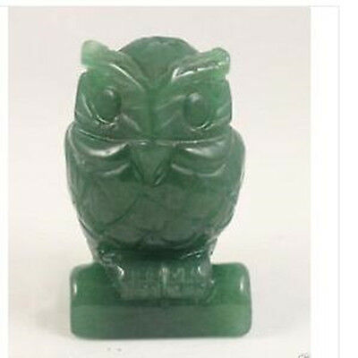 2.5 inch Green Jade carve Owl statue Hand Carved Owl,