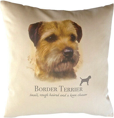 Border Terrier HR Cotton Cushion Cover - Choose Cream or White Cover - Gift Item